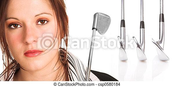 cabelo, executiva, marrom, equipamento, golfe - csp0580184