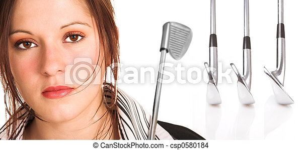 cabelo, marrom, equipamento golfe, executiva - csp0580184