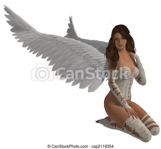 cabelo, morena, anjo - csp2119354