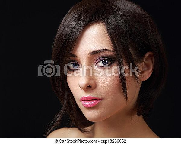 cabelo, mulher, maquilagem, olhar, shortinho, pretas, excitado - csp18266052