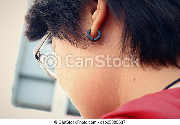 cabelo, mulher, shortinho - csp25885637
