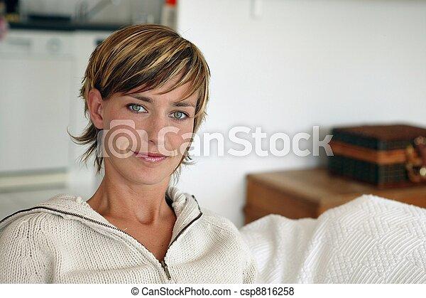 cabelo, mulher, shortinho - csp8816258