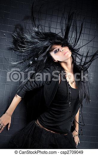cabelo, mulher, vibrar, jovem - csp2709049