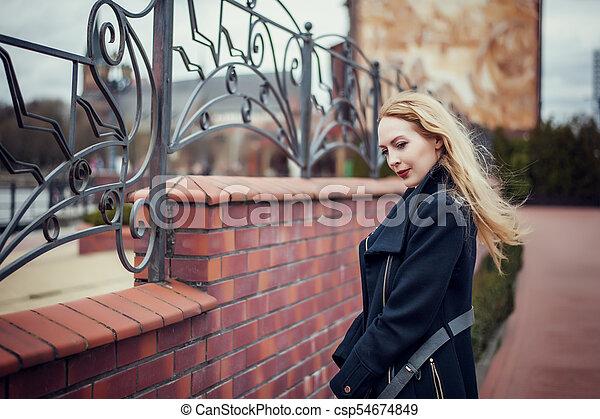 cabelo, oman, vento, loura, longo - csp54674849
