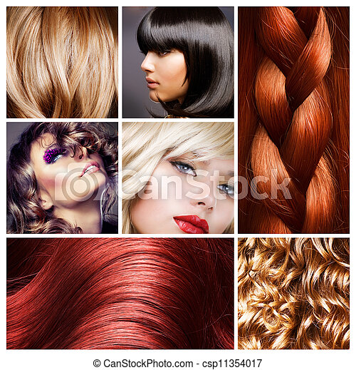 cabelo, penteados, collage. - csp11354017
