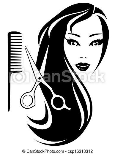 cabelo, tesouras, menina, longo - csp16313312