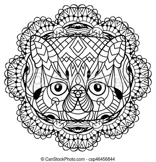 La cabeza de un gato en el patrón tribal circular de fondo. Diseño de arte - csp46456844
