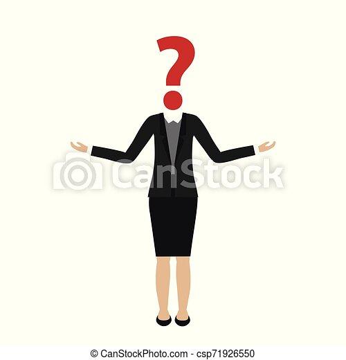 Personaje de mujer de negocios con cabeza de interrogación - csp71926550