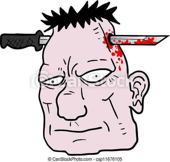 Cuchillo en la cabeza - csp11676105