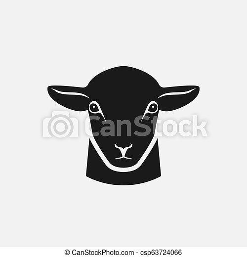 Cabeza de silueta de oveja - csp63724066