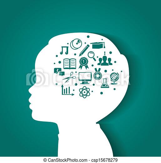 Cabeza de niño con iconos educativos - csp15678279