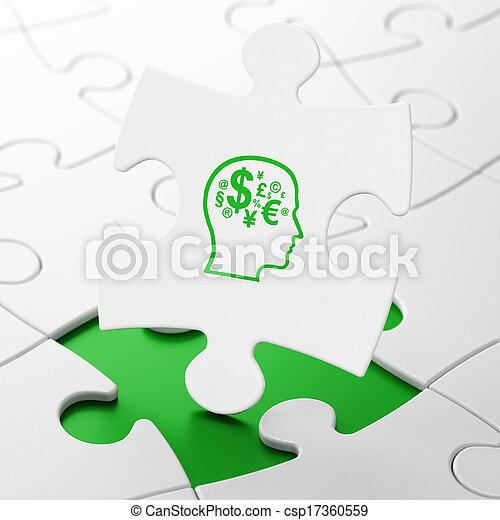 concepto de publicidad: cabeza con símbolo financiero en el fondo del rompecabezas - csp17360559
