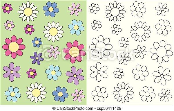 Cabeza, flor, eps10, contorno, tarjeta, primavera, estilizado ...