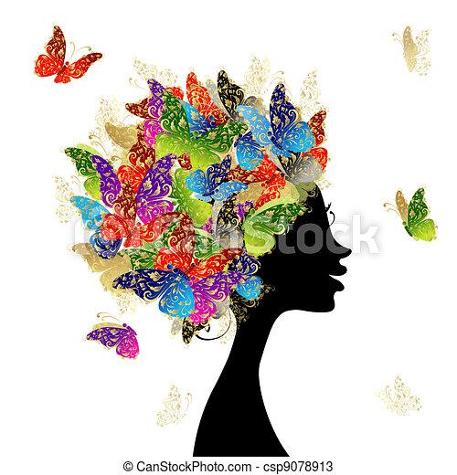 Cabeza de mujer con peinado hecho de mariposas para tu diseño - csp9078913