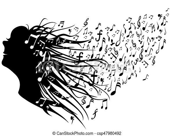 Una mujer con notas musicales - csp47980492
