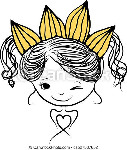Niñas princesas con corona en la cabeza para tu diseño - csp27587652
