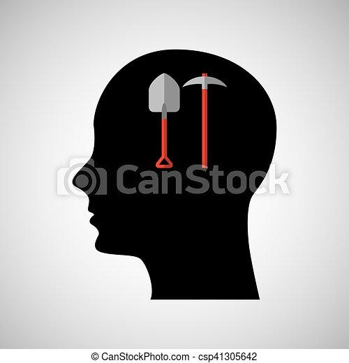 Cabeza silueta negro pala y pico - csp41305642