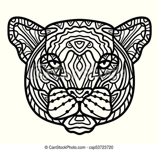 El zentángulo de la pantera estilizado, vector, ilustración, patrón, lápiz de mano libre, dibujado a mano. - csp53723720