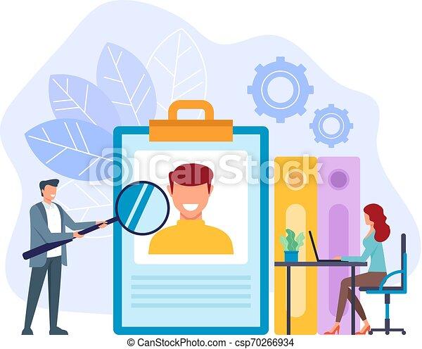 Trabajadores de oficina buscando nuevos trabajadores. El concepto de reclutamiento del cazador jefe. Diseño gráfico de diseño gráfico Vector plana ilustración aislada - csp70266934