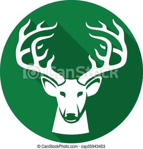 Cabeza de ciervo icono plano - csp35943453