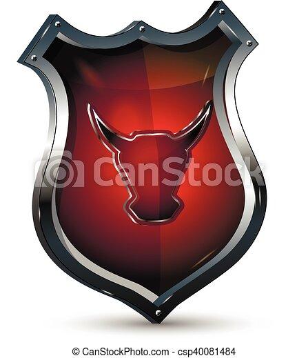 Escudo con la cabeza de un toro - csp40081484