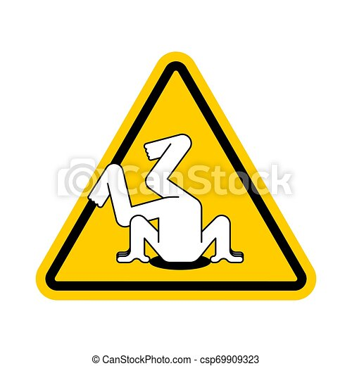 Atención cabeza en arena. Señal de alerta amarilla. Precaución oculta de problemas - csp69909323