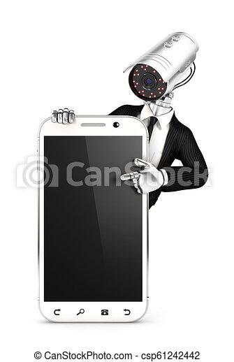 Agente de seguridad 3D con cámara apuntando a un teléfono en blanco - csp61242442