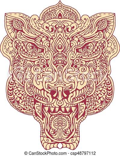 Cabeza tigre mandala cabeza bosquejo ilustraci n mano tigre mandala estilo hecho dibujo - Tigre mandala ...