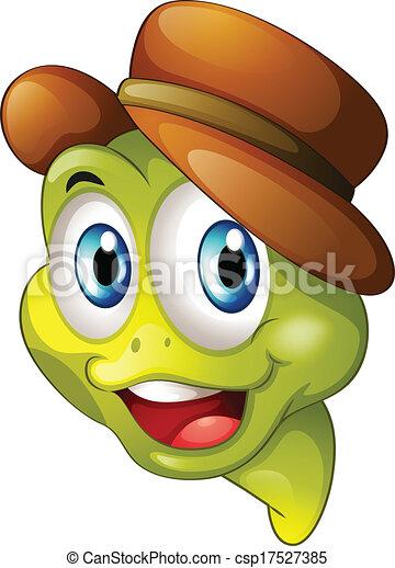 Una cabeza de una tortuga sonriente - csp17527385