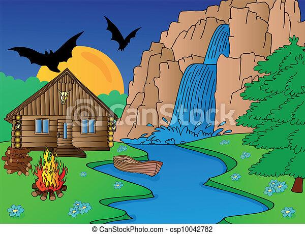 Cabin and falls - csp10042782