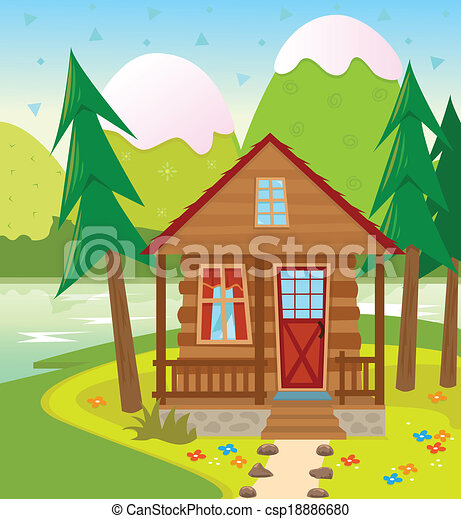Cabin A Cabin In The Woods With A Lake And Snow Capped Vector - Cabin clip art free