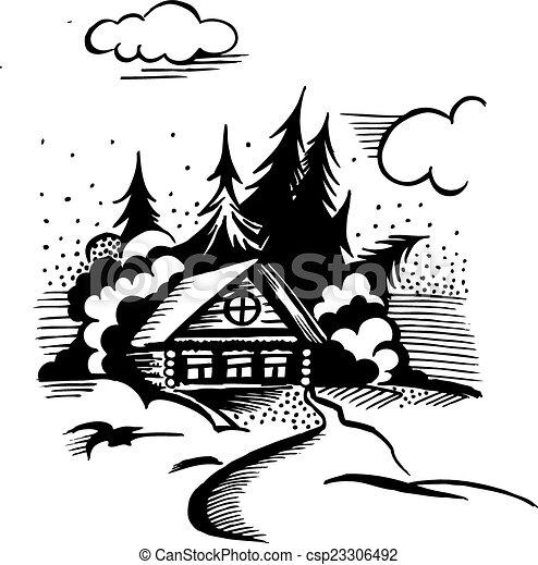cabin in the woods - csp23306492