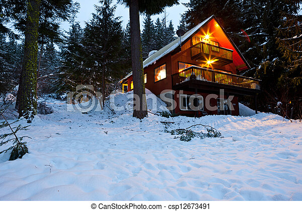 Cabin In Woods At Dusk - csp12673491