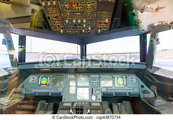 cabin., intérieur, pilote avion - csp43870734