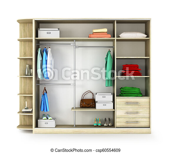 Cabinet Open Closet Compartment With Things Isolated On A White