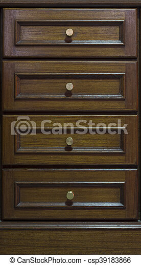 Cabinet With Drawers Made From Dark Wood Background And Texture