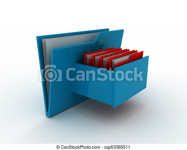 Cabinet with file folder . 3d rendered illustration - csp53365511