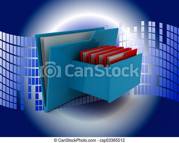 Cabinet with file folder . 3d rendered illustration - csp53365512