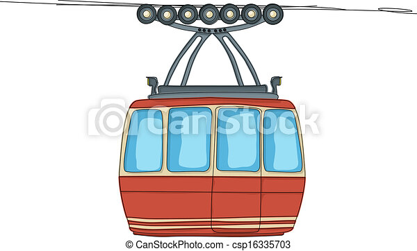Cable-car on ropeway - csp16335703