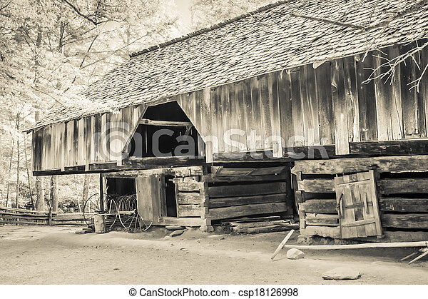 Cable Mill Cantilever Barn - csp18126998