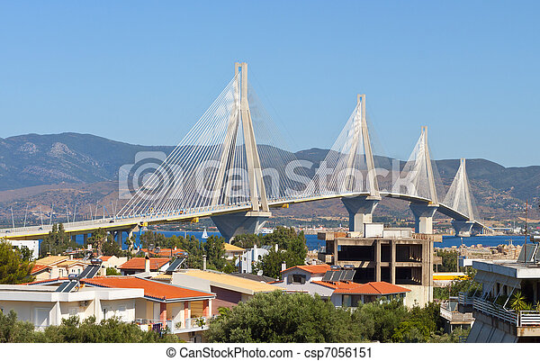 Cable stayed bridge of Patras city in Greece. Also called Rion-Antrion bridge.  - csp7056151