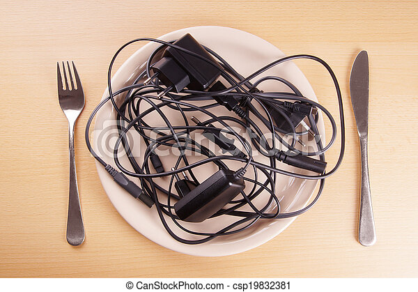 cable tangle on a plate - csp19832381
