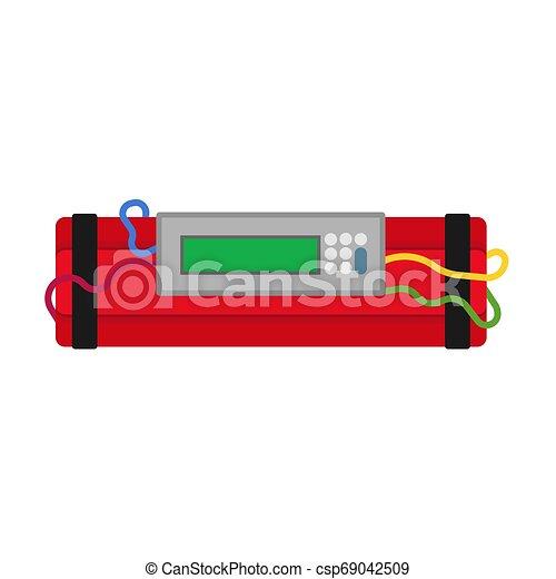Dinamita vector icono de vectores de bomba exponiendo dibujos animados TNT. El arma de fusible rojo detona el cable. Bum de energía del reloj - csp69042509