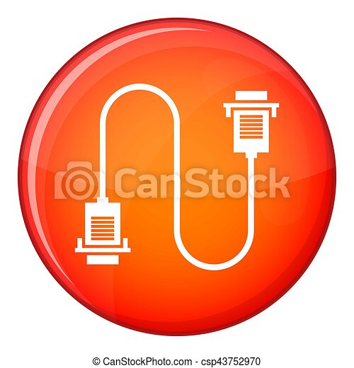 Cable wire computer icon, flat style - csp43752970