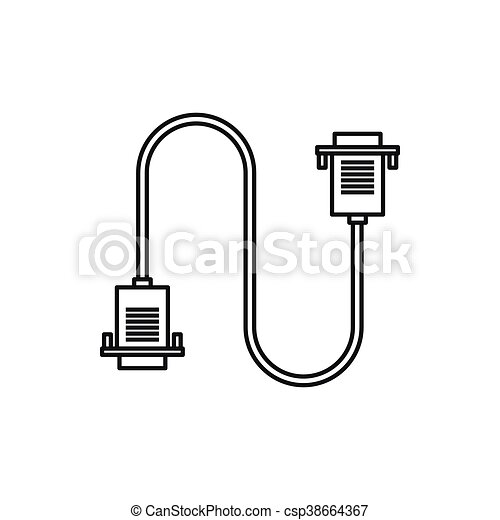 Cable wire computer icon, outline style. Cable wire computer... clip ...
