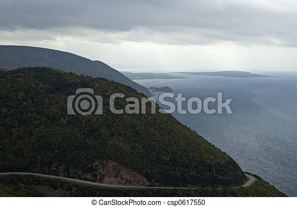 Cabot Trail (Road), Scenic Vista from Skyline Trail, Cape Breton Highlands National Park, Nova Scotia, Canada - csp0617550