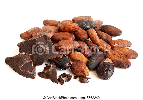 Cacao beans and chocolate - csp15862240