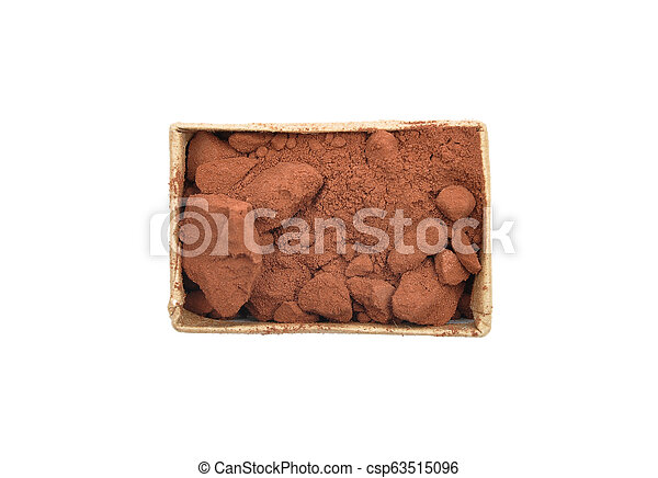 Cacao powder in carton on white background - csp63515096