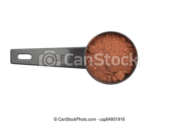Cacao powder in measuring spoon on white background - csp64931916