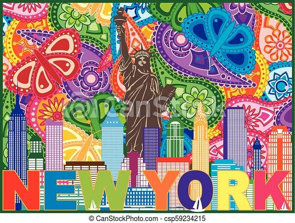 La ilustración de colores de estampado de New York - csp59234215